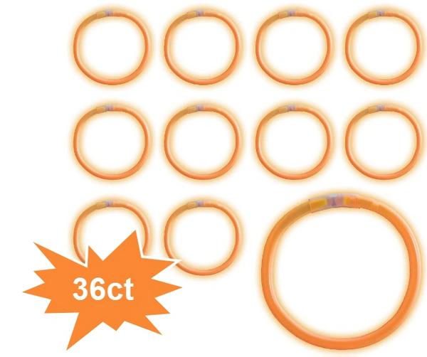 "8"" Glow Stick Tube - Orange, 36ct"