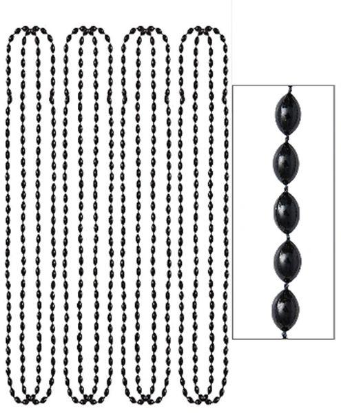 """Black Metallic Bead Necklaces, 30"""" - 8ct"""