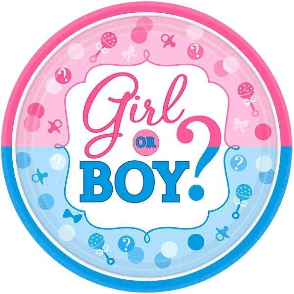"Girl or Boy? Dessert Plates, 7"" - 8ct"