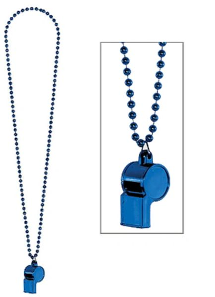 Blue Whistle On Chain Necklace, 36""
