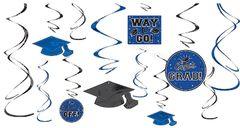 Blue Graduation Swirl Decorations, 12ct