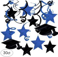 Blue Graduation Swirl Decorations, 30ct