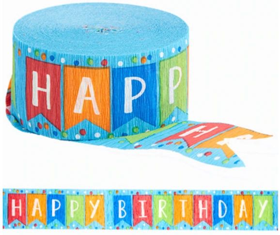 Printed Crepe Streamers - Happy Birthday, Blue, 81ft