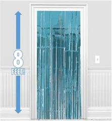 Caribbean Blue Fringe Doorway Curtain