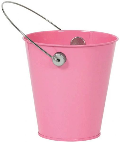 Metal Bucket w/ handle - New Pink