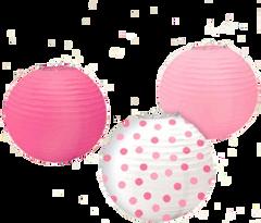 Baby Girl Round Paper Lanterns, 3ct