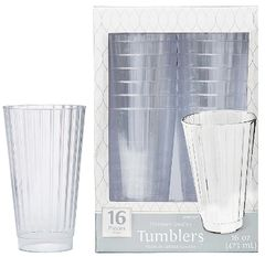 CLEAR Premium Quality Boxed Tumblers, 16oz - 16ct