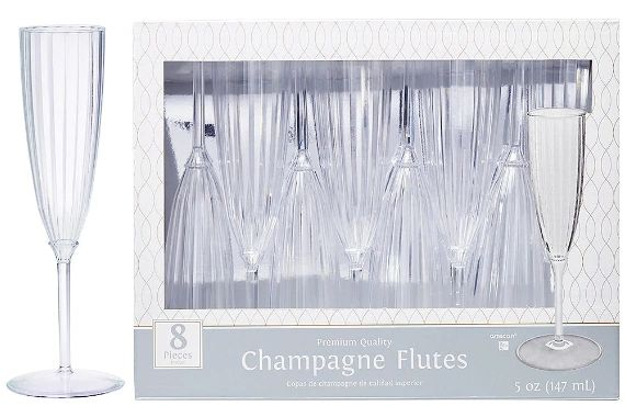 Clear Premium Quality Boxed Champagne Flutes, 5oz - 8ct