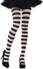 Adult's Black/White Wide Striped Tights