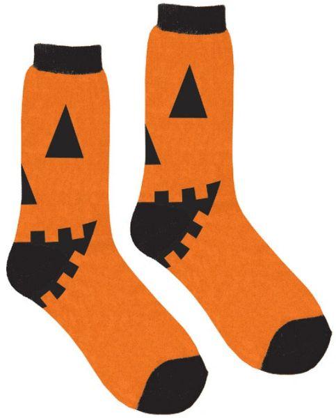 Adult's Jack-O-Lantern Crew Socks