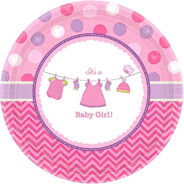 "Shower with Love Girl Dessert Plates, 7"" - 8ct"