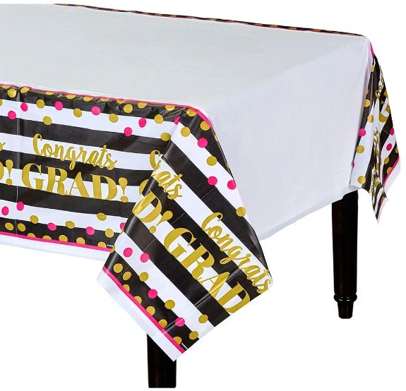 Gold Confetti Grad Plastic Table Cover