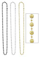 Gold Disco Bead Necklaces, 3ct