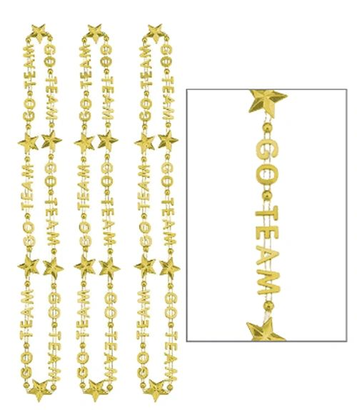 """Go Team"" Word Necklace - Gold, 32"" - 3ct"