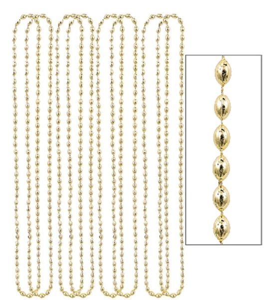 "Gold Metallic Bead Necklaces, 30"" - 8ct"