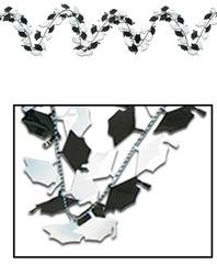 Black & White Grad Cap Metallic with Foil Wire Garland, 12ft