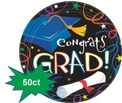 "Grad Celebration Lunch Plates, 9"" - 50ct"