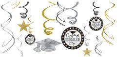 Black, Silver & Gold Grad Swirl Decorations, 12ct