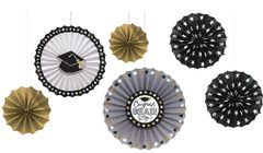 Black, Silver & Gold Grad Paper Fan Decorations, 6ct