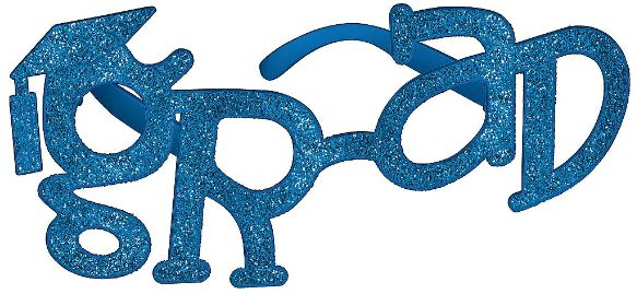 Grad Shaped Plastic Glasses - Blue Glitter