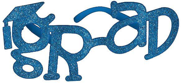 Grad Shaped Plastic Glasses - Blue Glitter