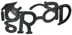 Black Glitter Grad Shaped Plastic Glasses