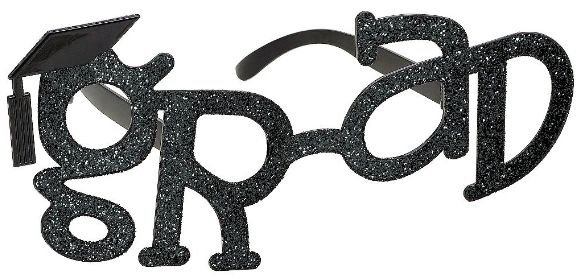 Grad Shaped Plastic Glasses - Black Glitter
