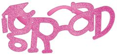 Pink Glitter Grad Shaped Plastic Glasses