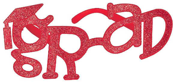 Grad Shaped Plastic Glasses - Red Glitter