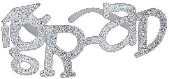 Grad Shaped Plastic Glasses - Silver Glitter