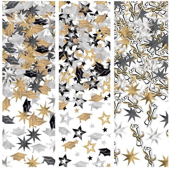 Grad Value Confetti - Black, Silver, Gold, 1.2oz
