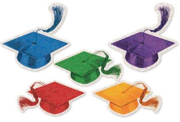 Multicolor Graduation Mini Glitter Cutouts, 50ct