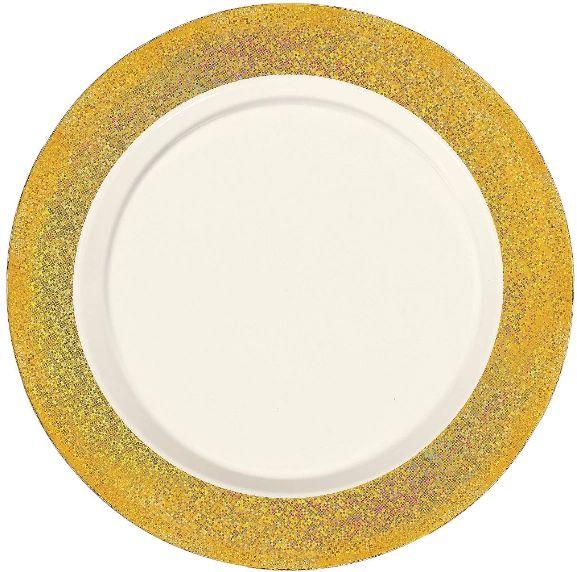 """Premium Plastic Cream Dinner Plates w/Prismatic Gold Border, 10"""" - 10ct"""