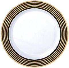 """Black & Metallic Gold Stripe Premium Plastic Dinner Plates, 10 1/4"""" - 10ct"""