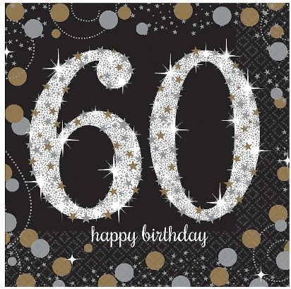 Sparkling Celebration 60th Birthday Beverage Napkins, 16ct