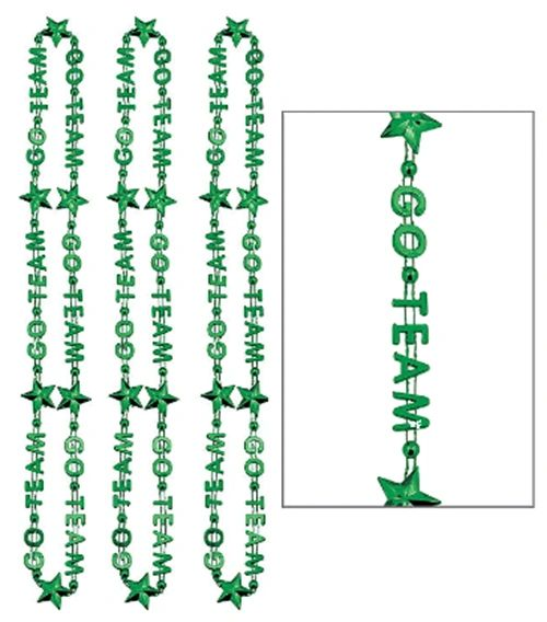 Green Go Team Bead Necklaces, 3ct