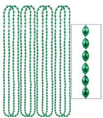 "Green Metallic Bead Necklaces, 30"" - 8ct"