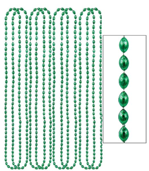 "Green Metallic Bead Necklaces, 30"" - 8ct"