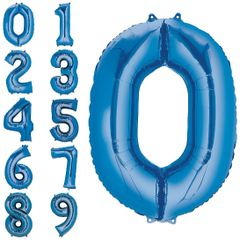 "34"" Blue #0 Mylar Balloon"