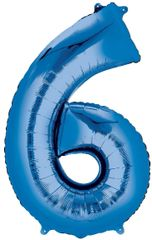"34"" Blue #6 Mylar Balloon"