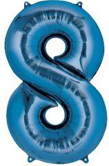 "34"" Blue #8 Mylar Balloon"