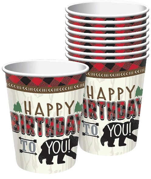 Little Lumberjack Birthday Cups, 9 oz - 8ct