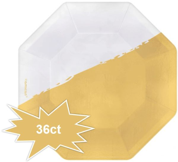 "Cocktail Party Octagonal Appetizer Foil Plates, 5 3/4"" - 36ct"
