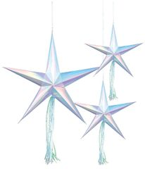 Shimmering Party Hanging 3-D Stars