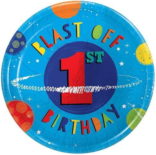 "Blast Off 1st Birthday Metallic Dessert Plates, 7"" - 8CT"