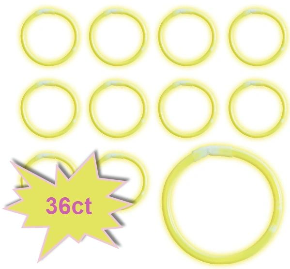 "8"" Glow Stick Tube - Yellow, 36ct"