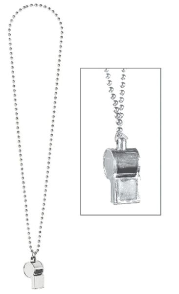 Silver Whistle On Chain Necklace