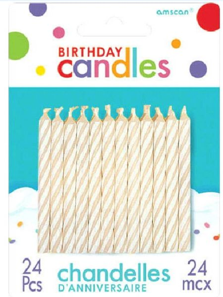White Candy Stripe Spiral Candles, 24ct