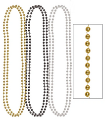 "Black, Silver & Gold Metallic Bead Necklaces, 30"" - 6ct"