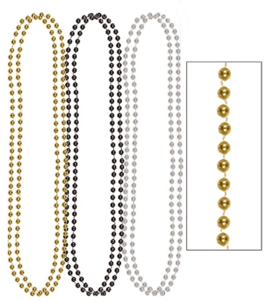 "Metallic Bead Necklaces-Black, Silver & Gold, 30"" - 8ct"